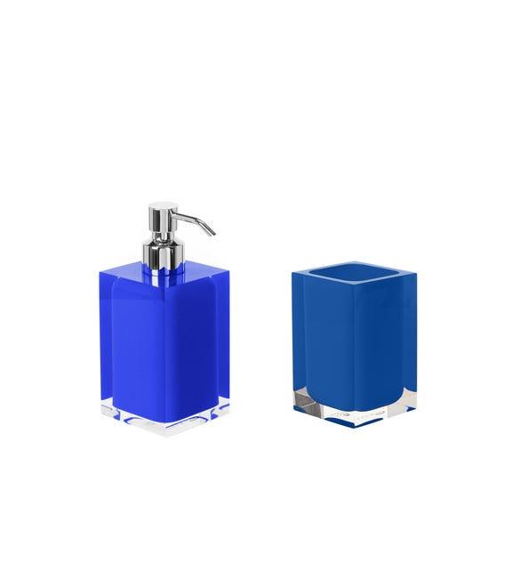 Set di accessori per bagno blu in resina - 1