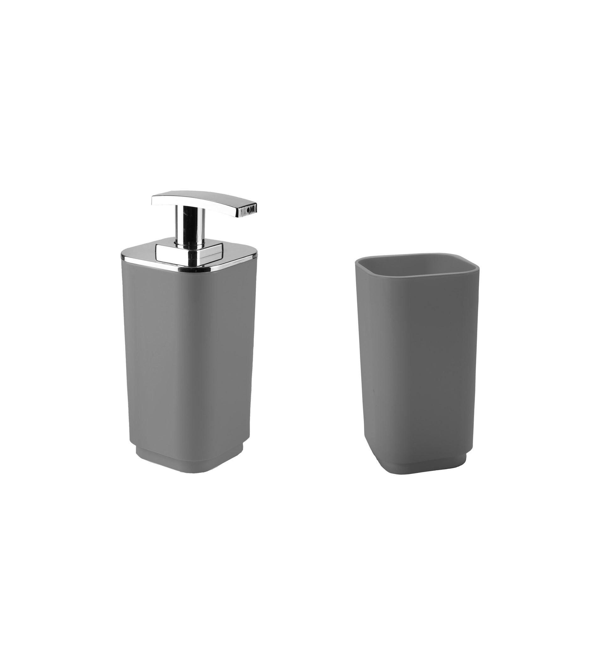 Set di accessori per bagno grigio in plastica