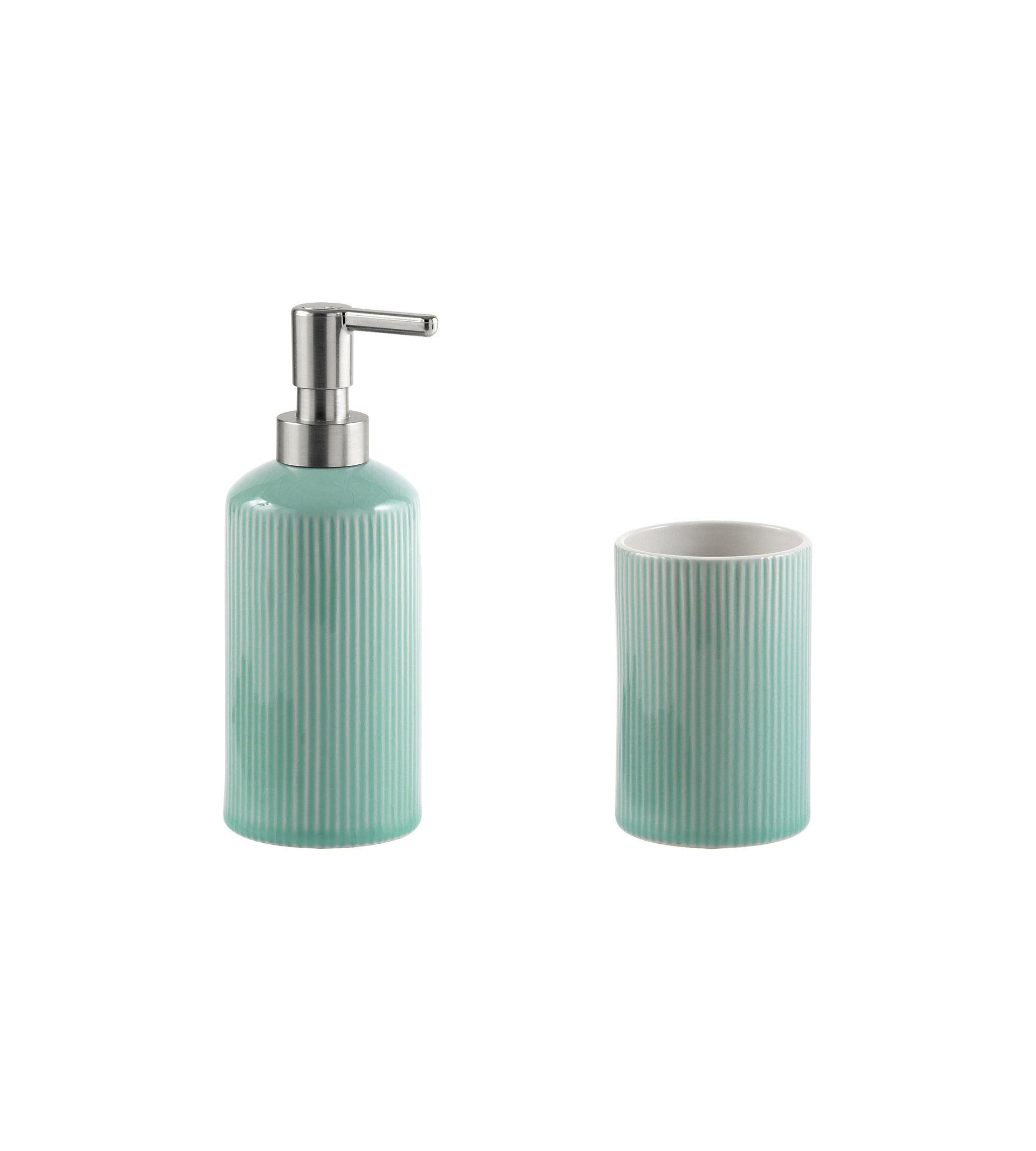 Set di accessori per bagno acquamarina in ceramica