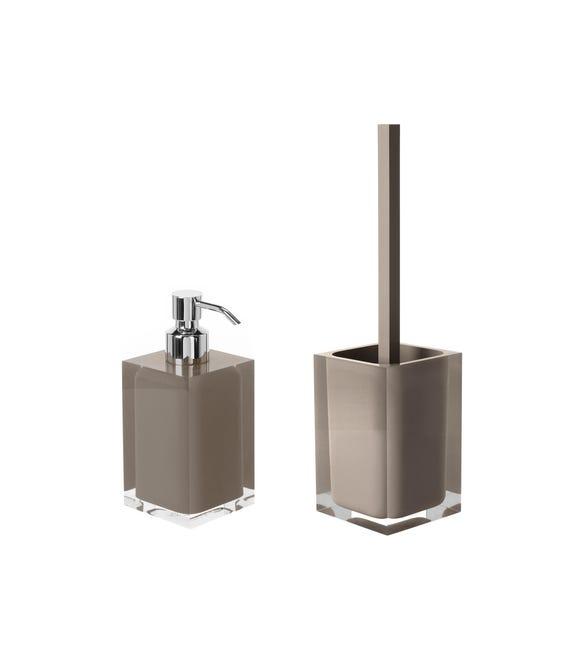 Set di accessori per bagno tortora in resina - 1