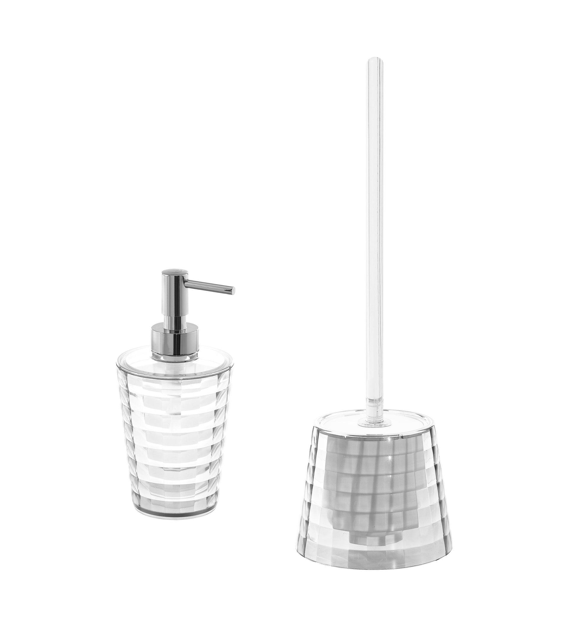 Set di accessori per bagno trasparente in plastica