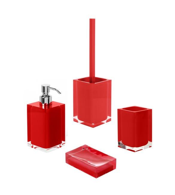 Set di accessori per bagno rosso in resina - 1