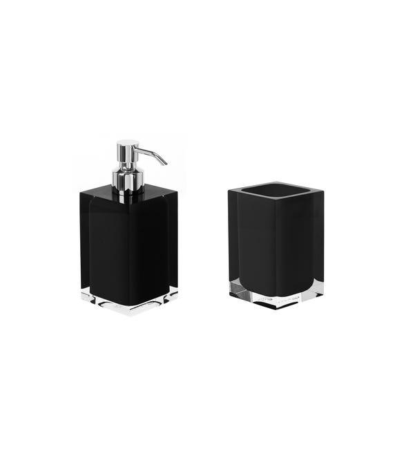 Set di accessori per bagno nero in resina - 1