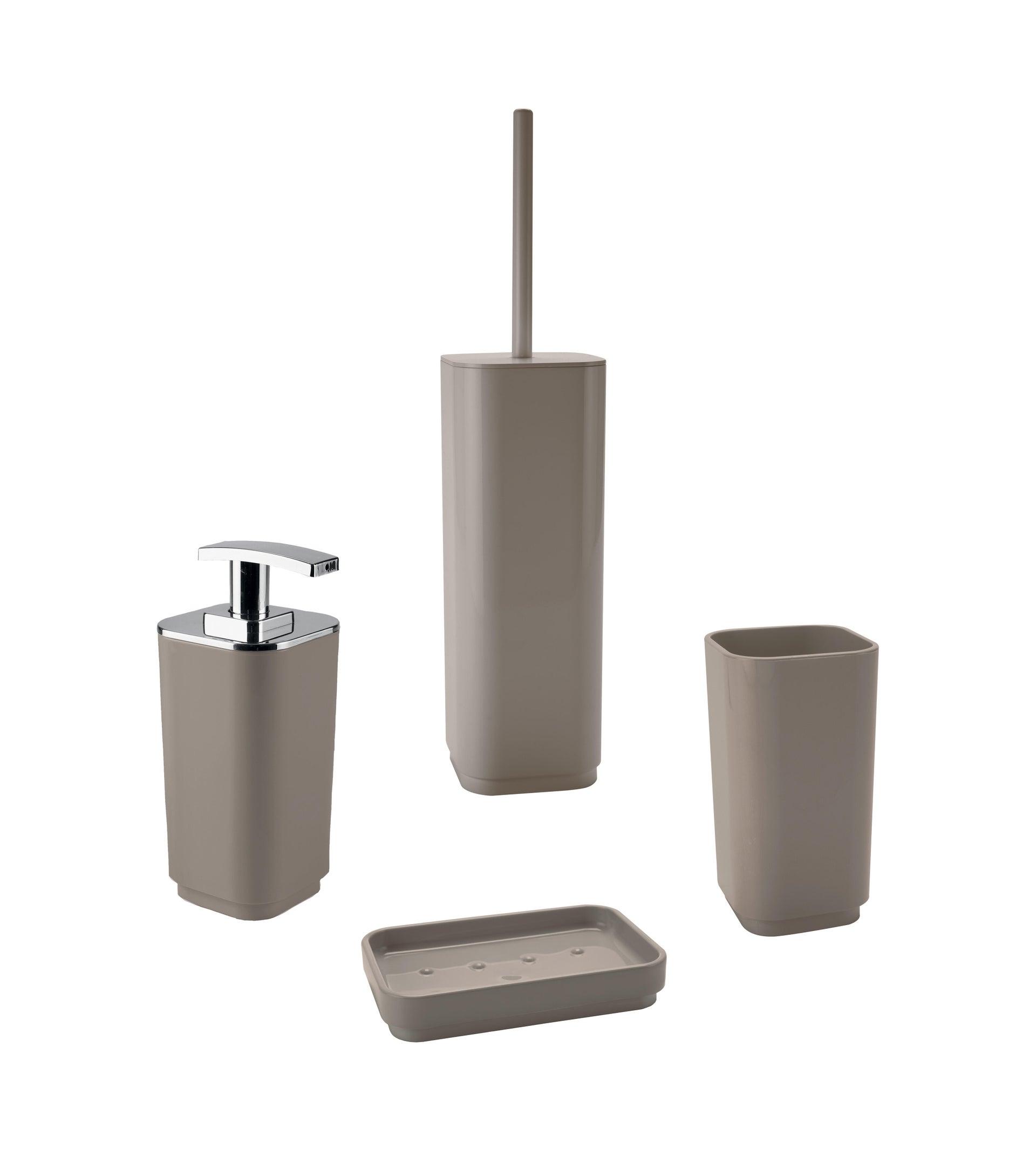 Set di accessori per bagno beige in plastica