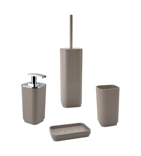 Set di accessori per bagno beige in plastica - 1
