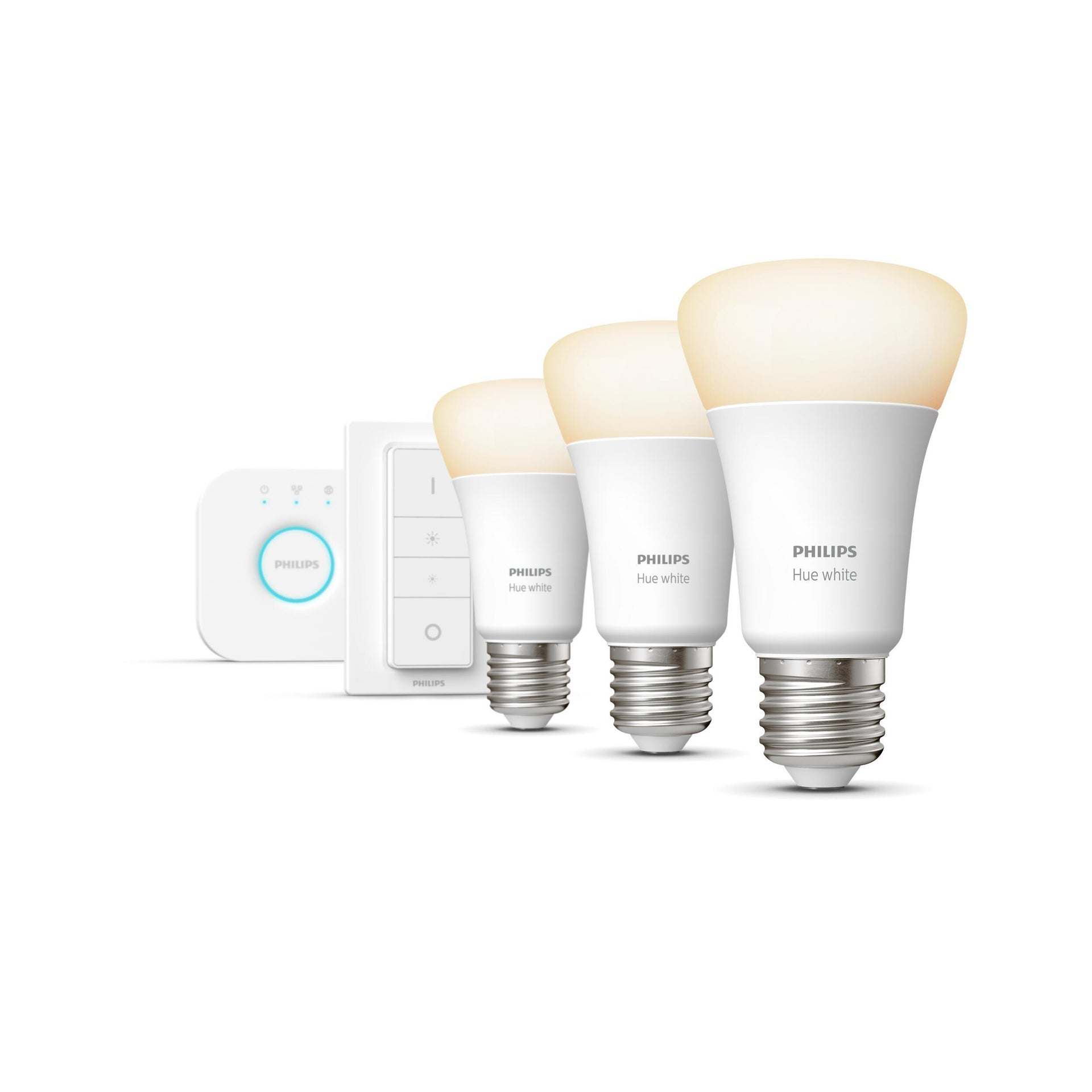 Set di 3 lampadine LED, HUE WHITE BLUETOOTH + BRIDGE + DIMMER, E27, Goccia, Opaco, Luce calda, 9W=806LM (equiv 60 W), 150° , PHILIPS HUE - 6