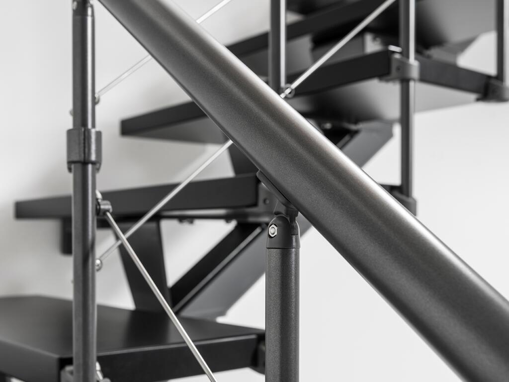 Scala a rampa 1/4 di giro Mas FONTANOT L 85 cm, gradino grigio antracite scuro, struttura antracite - 27