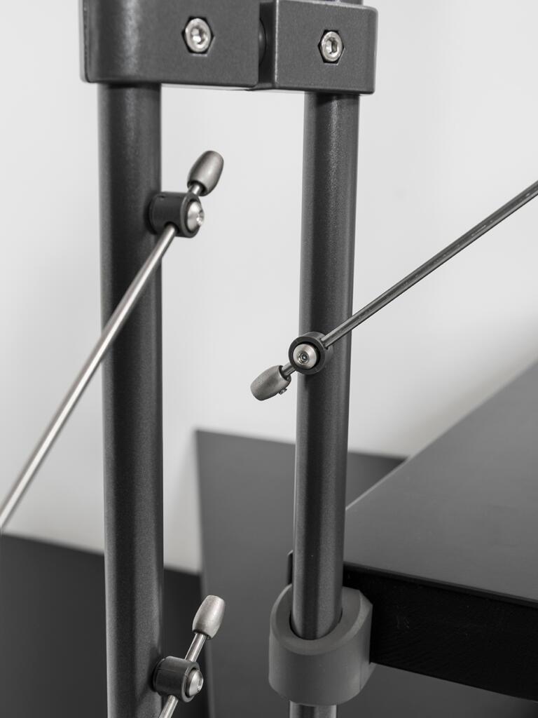 Scala a rampa 1/4 di giro Mas FONTANOT L 85 cm, gradino grigio antracite scuro, struttura antracite - 13