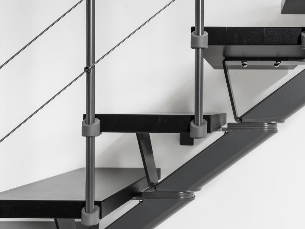 Scala a rampa 1/4 di giro Mas FONTANOT L 85 cm, gradino grigio antracite scuro, struttura antracite - 17