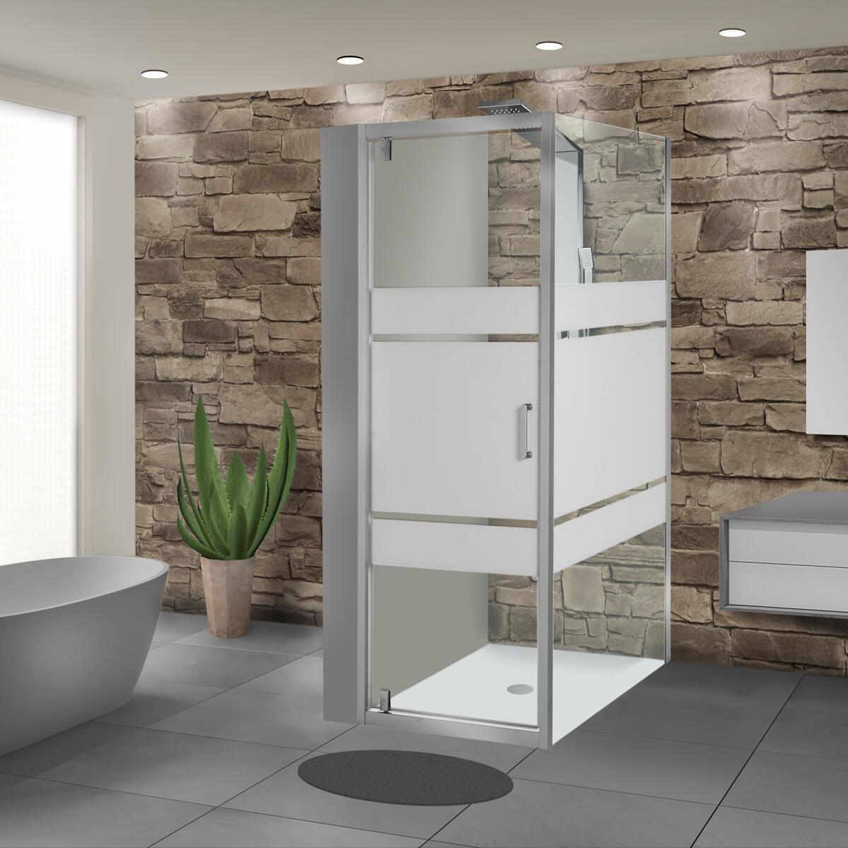 Porta doccia battente Sinque 70 cm, H 190 cm in vetro temprato, spessore 5 mm serigrafato satinato - 2