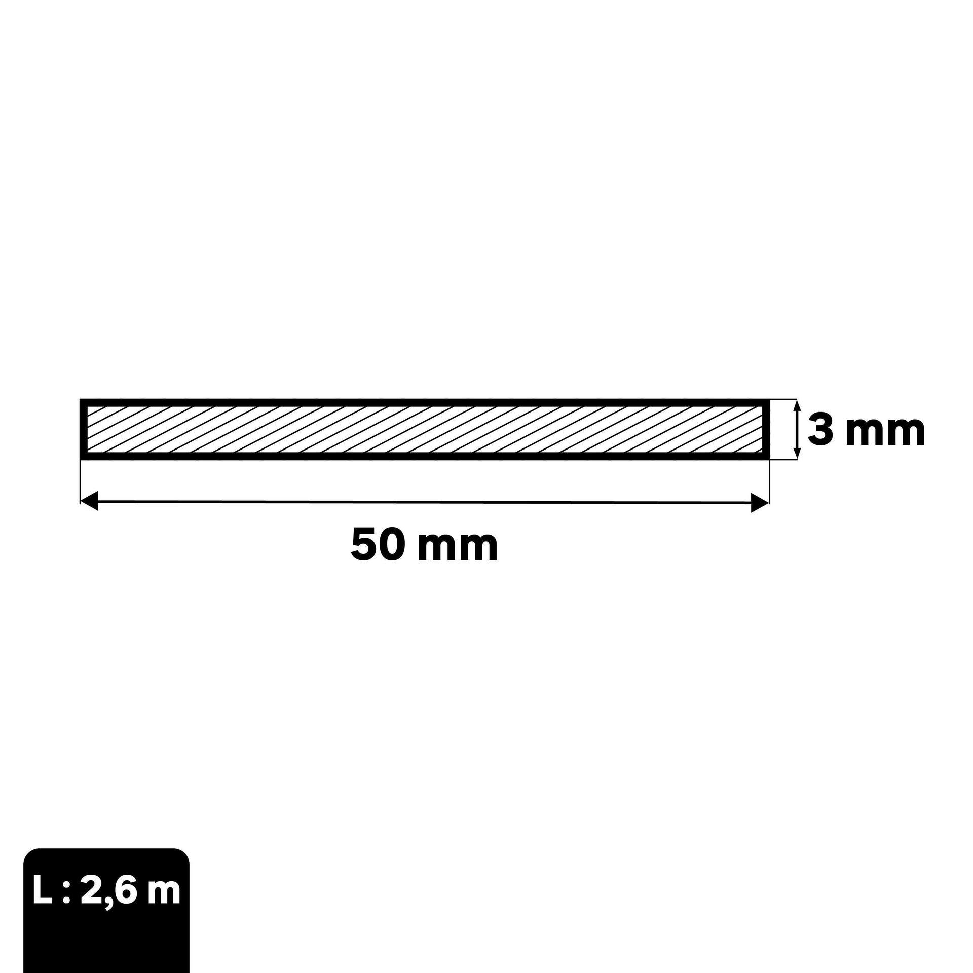 Profilo piatto STANDERS in alluminio 2.6 m x 5 cm grigio - 2