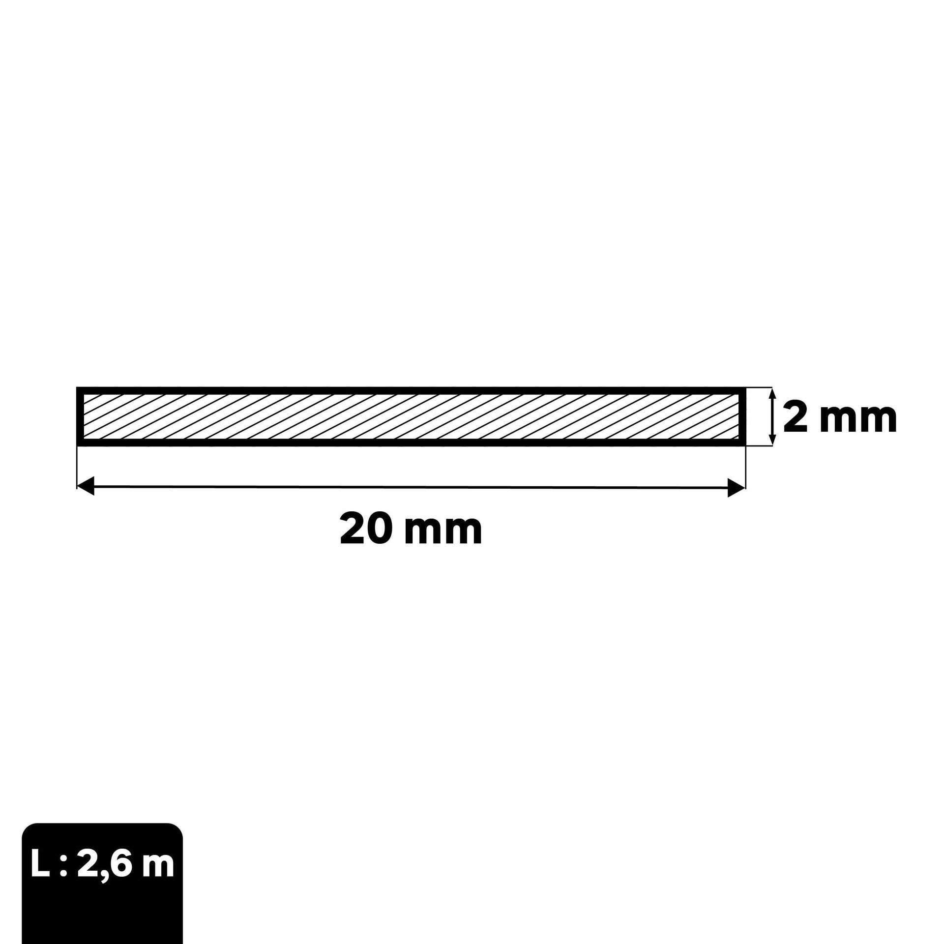 Profilo piatto STANDERS in alluminio 2.6 m x 2 cm grigio - 2