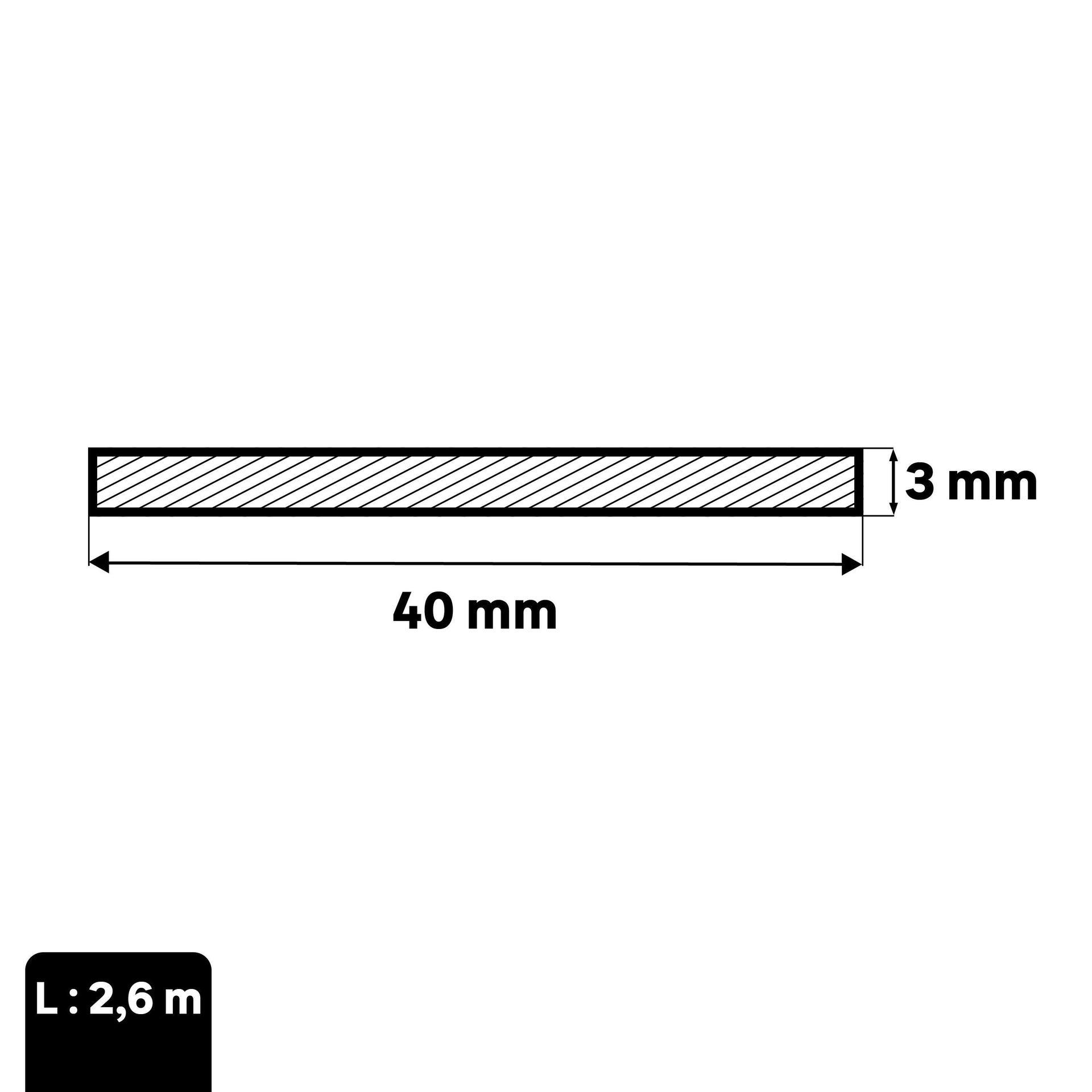 Profilo piatto STANDERS in alluminio 2.6 m x 4 cm grigio - 2