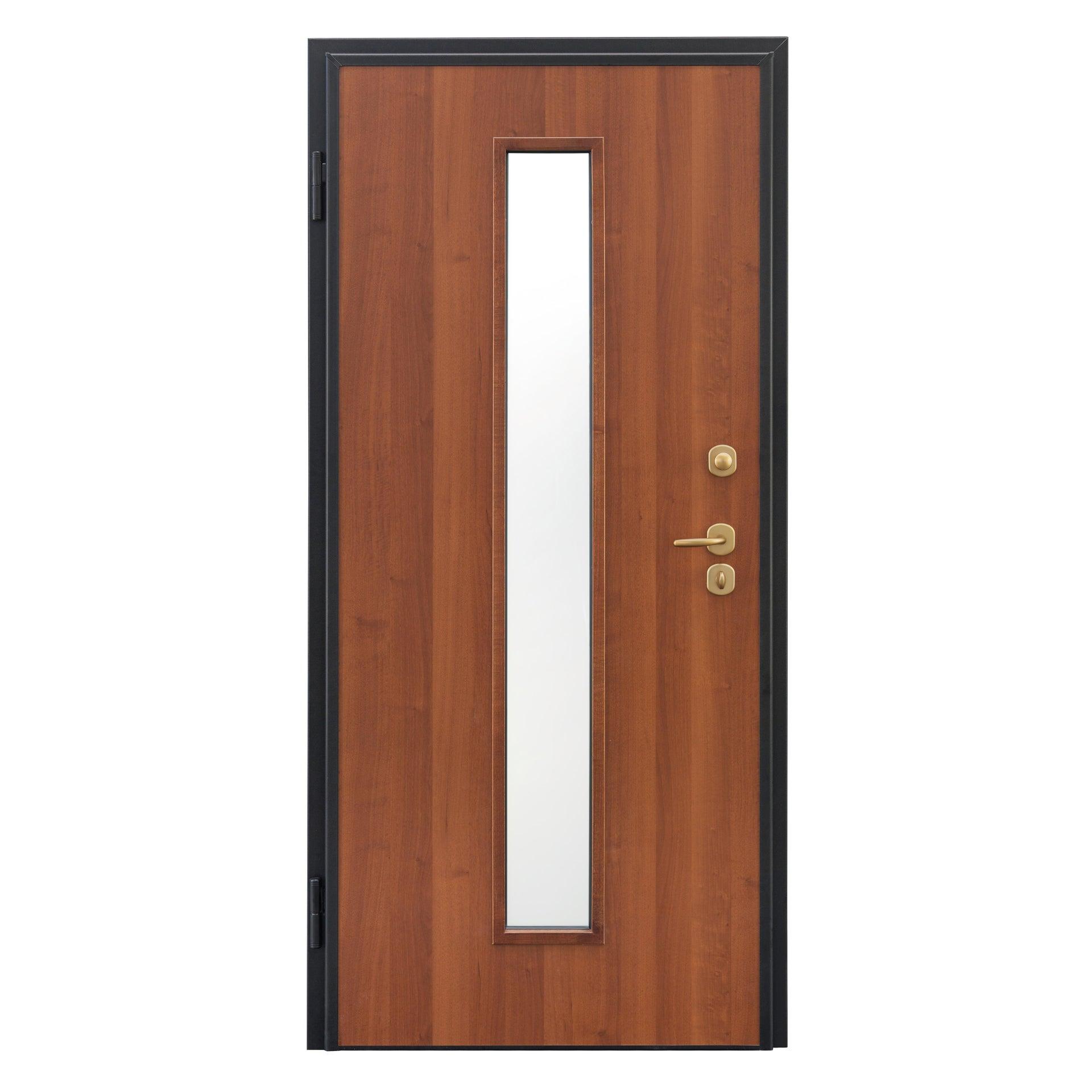 Porta blindata Mirror noce L 90 x H 210 cm destra - 9