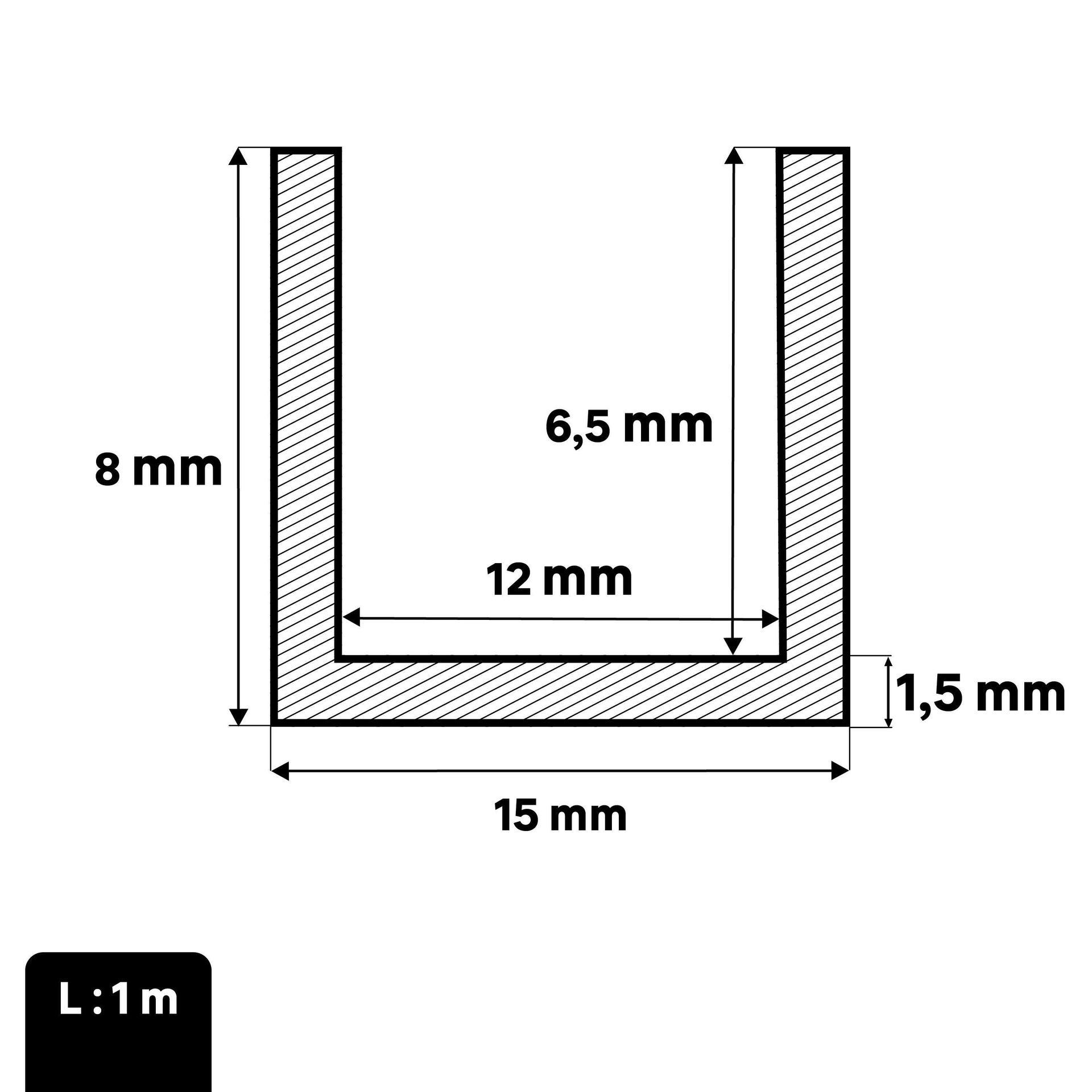 Profilo u STANDERS in pvc 1 m x 1.5 cm bianco