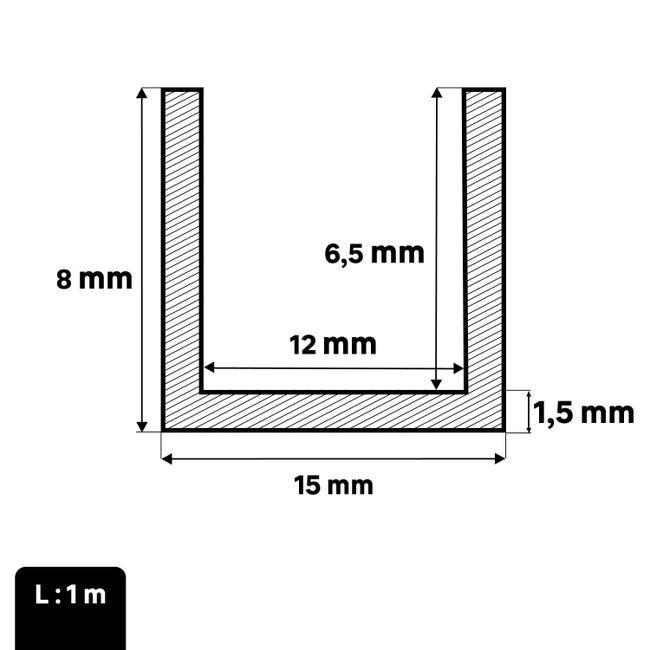 Profilo u STANDERS in pvc 1 m x 1.5 cm bianco - 1