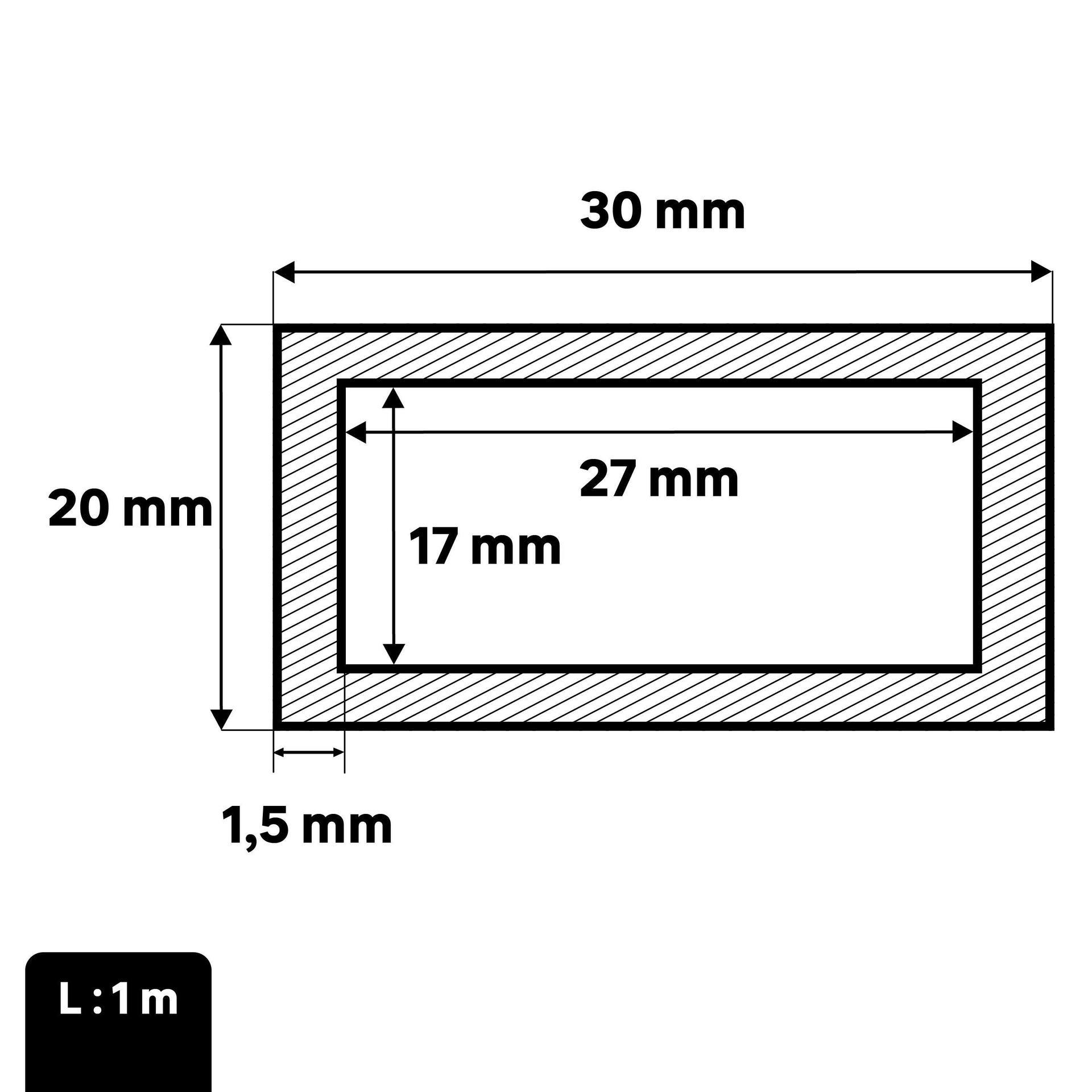 Profilo tubo rettangolare STANDERS in acciaio 1 m x 3 cm grigio - 2