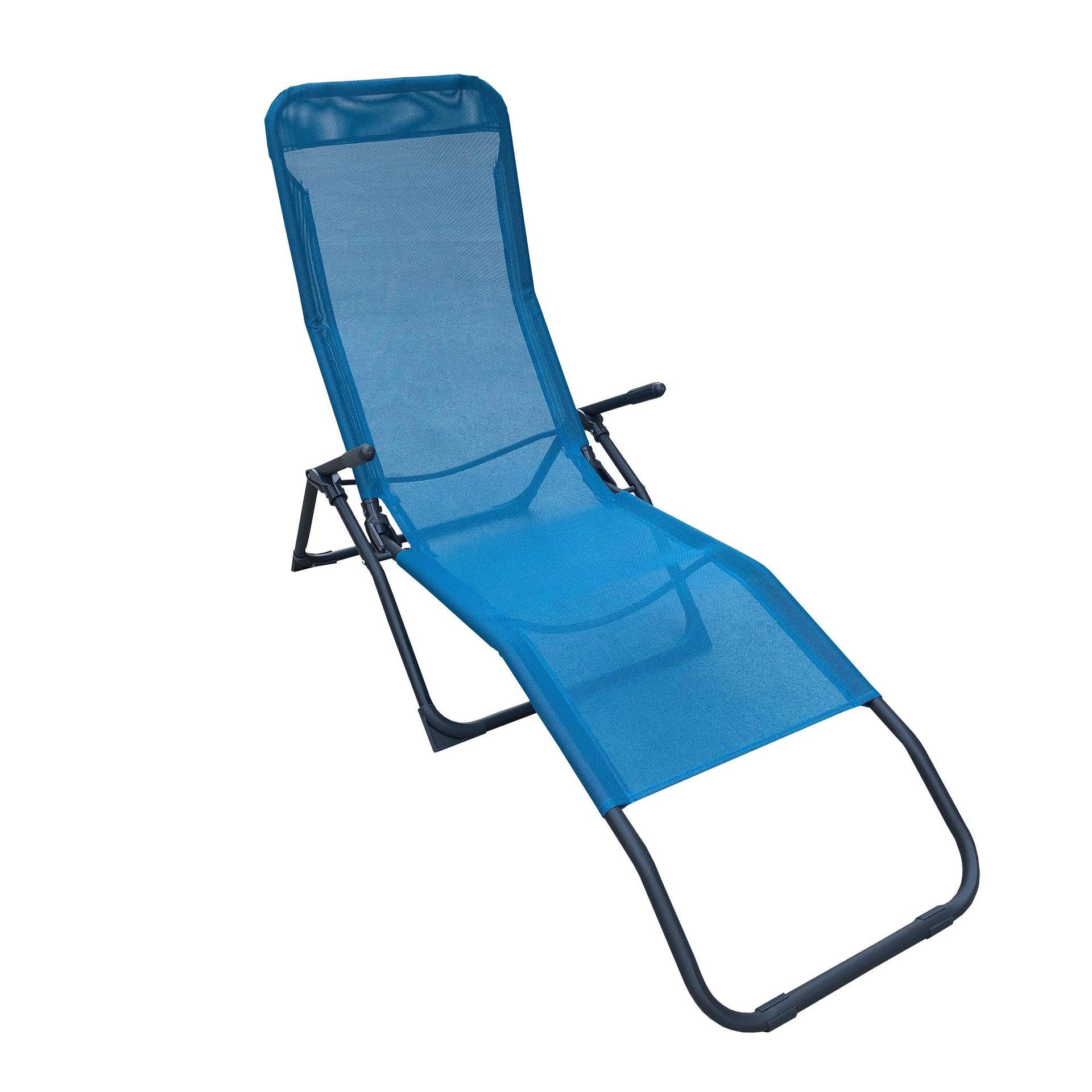 Lettino senza cuscino Fiesta in acciaio blu - 1