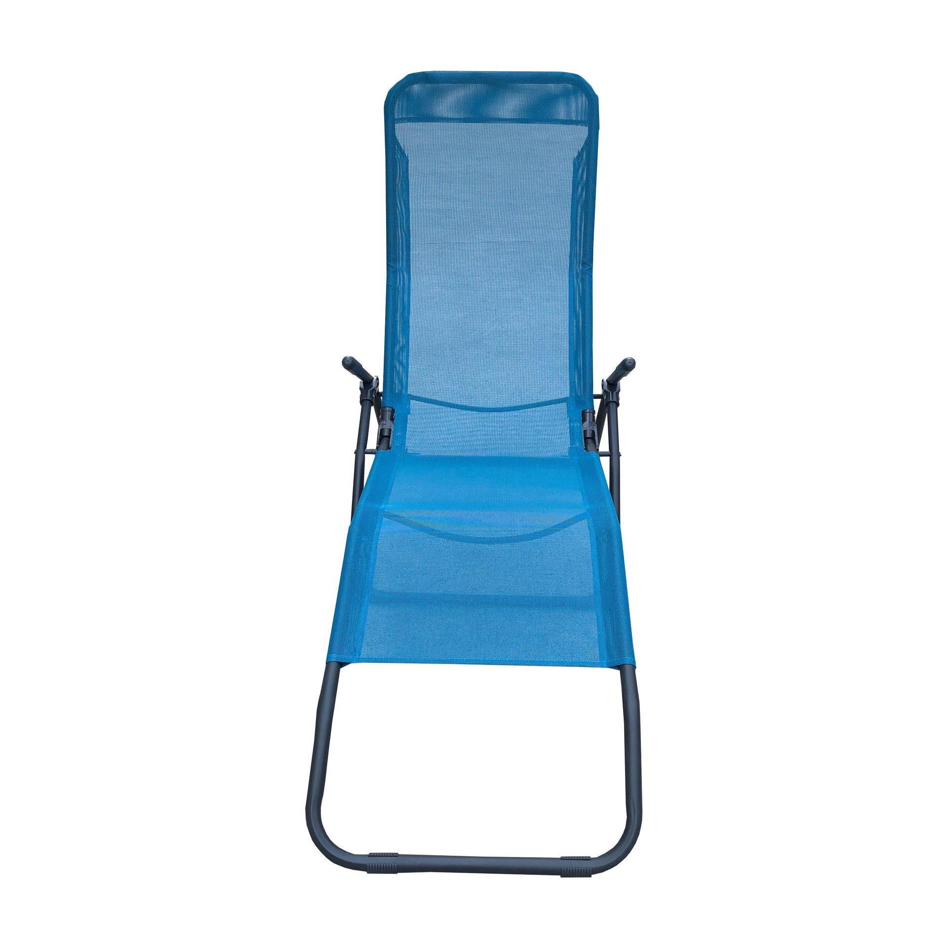 Lettino senza cuscino Fiesta in acciaio blu - 4