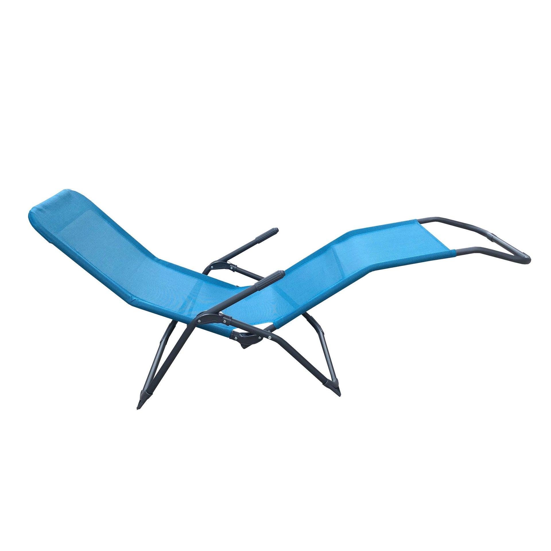 Lettino senza cuscino Fiesta in acciaio blu - 6