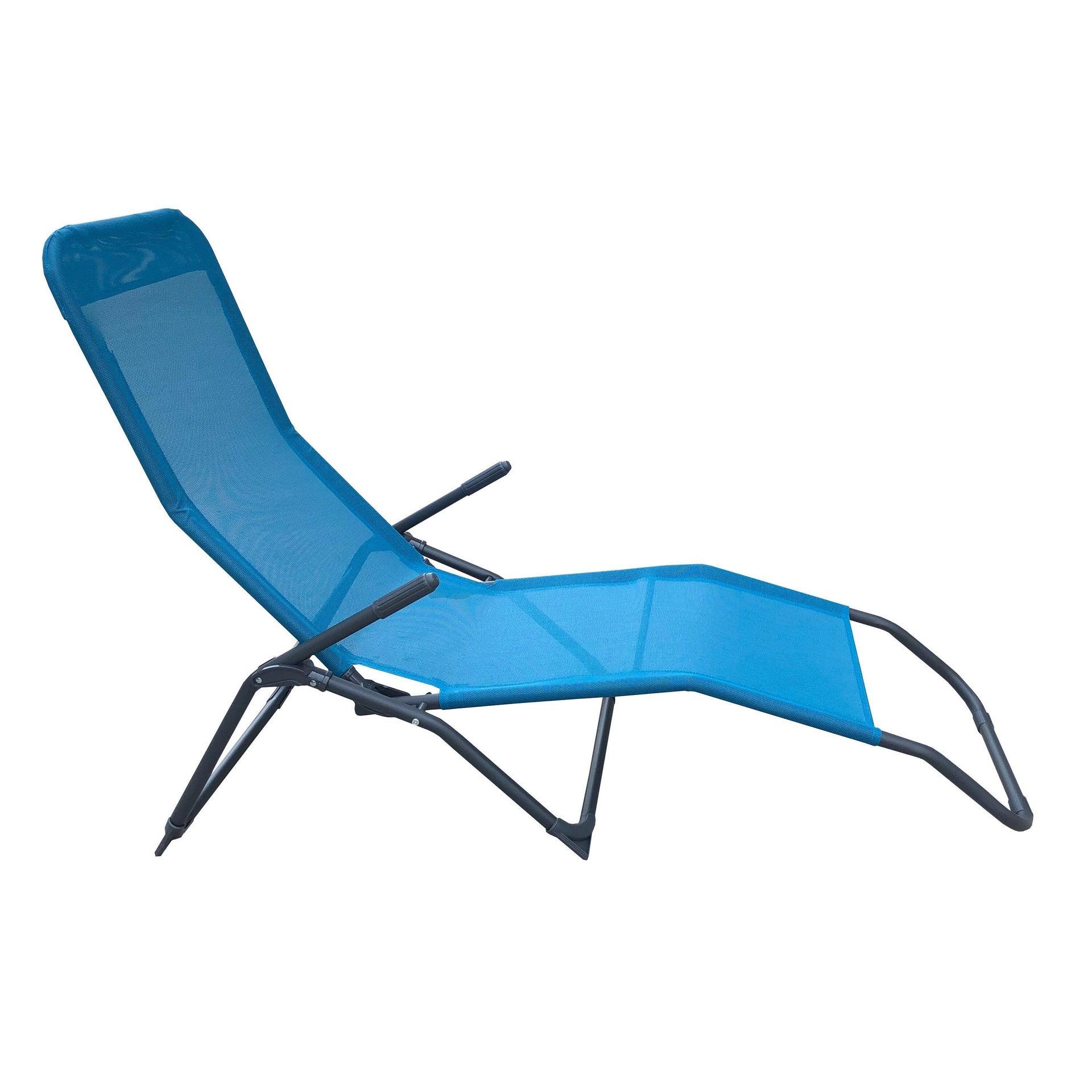Lettino senza cuscino Fiesta in acciaio blu - 9