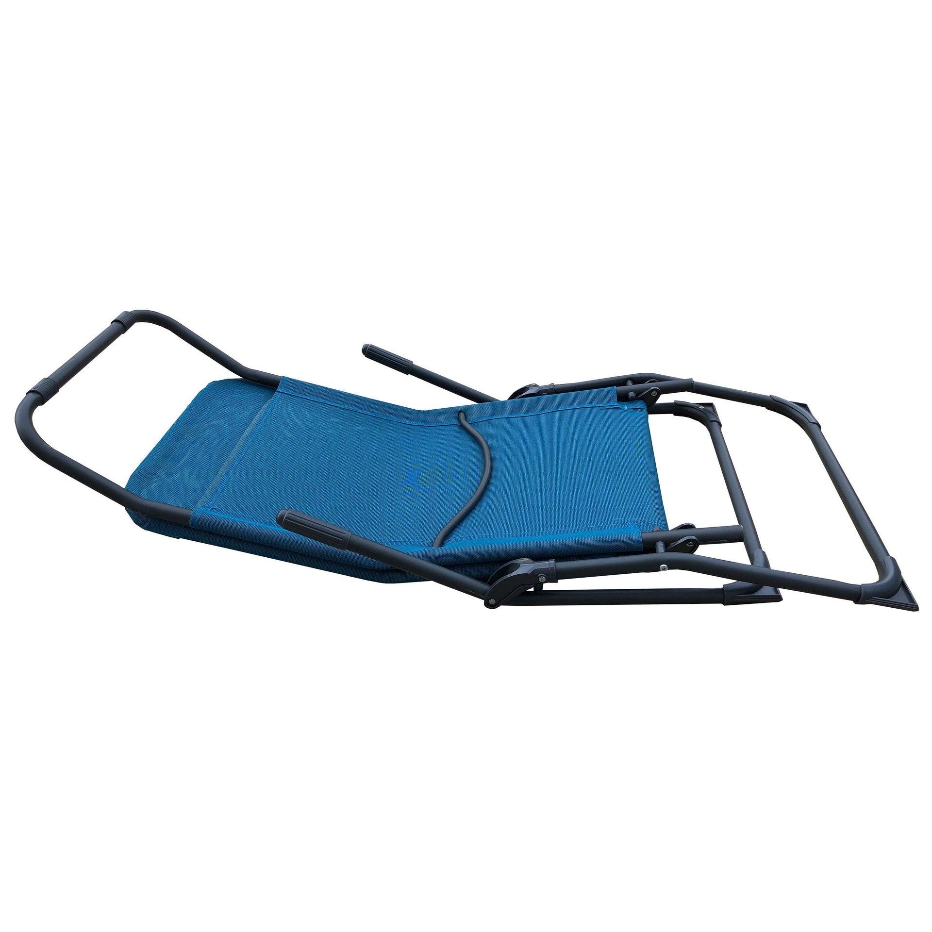 Lettino senza cuscino Fiesta in acciaio blu - 5