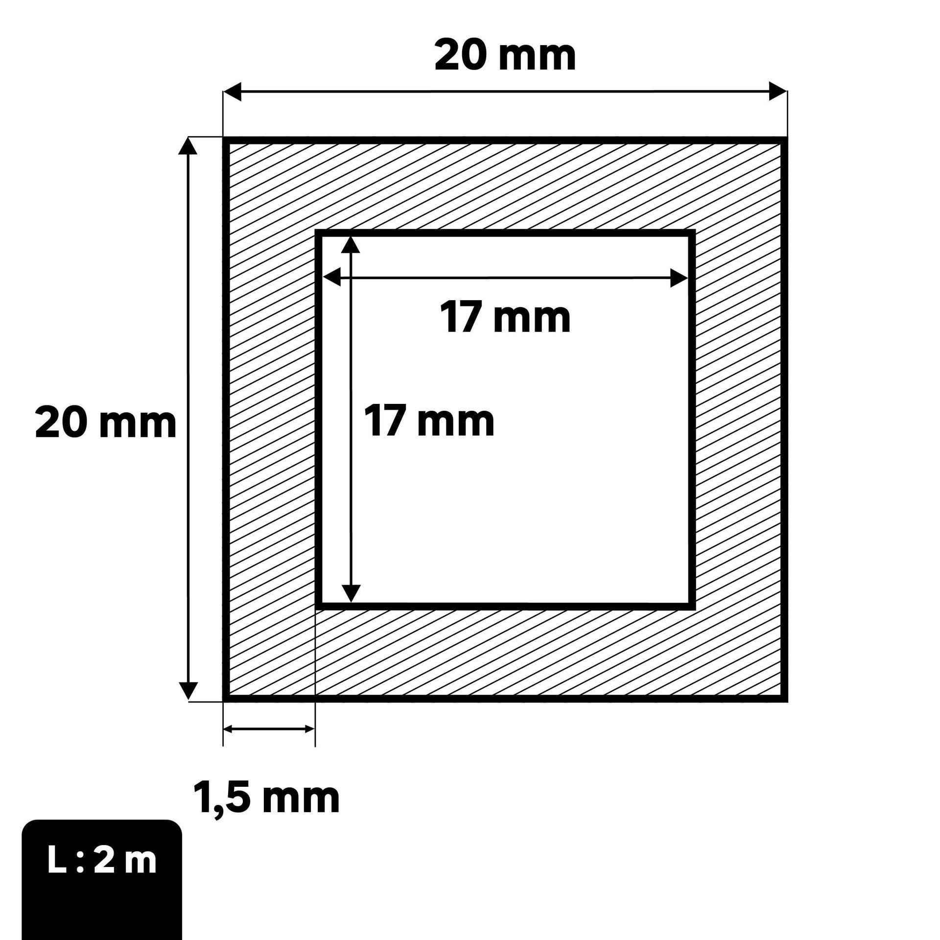 Profilo tubo quadrato STANDERS in ferro 2 m x 2 cm nero - 2