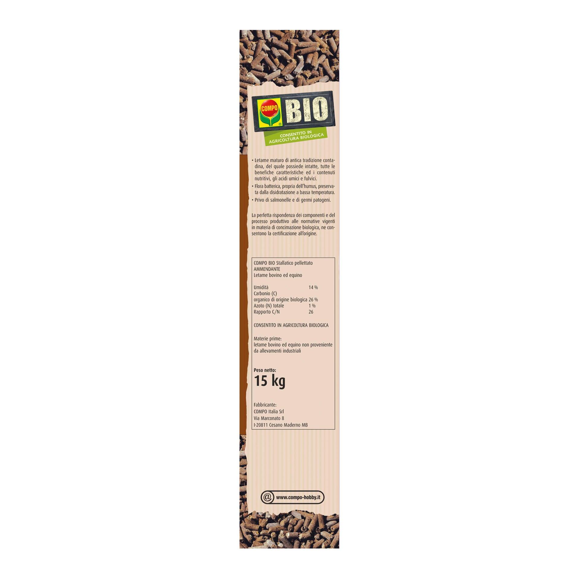 Concime bastoncini COMPO Bio stallatico pelletato 15 kg - 2