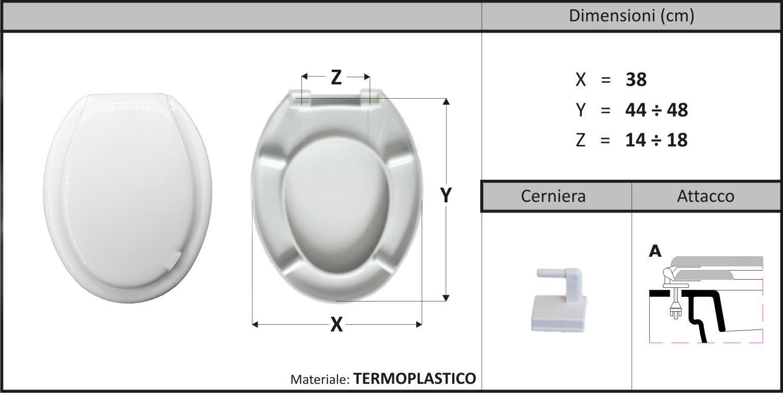 Copriwater ovale Universale Cefalo plastica bianco - 3
