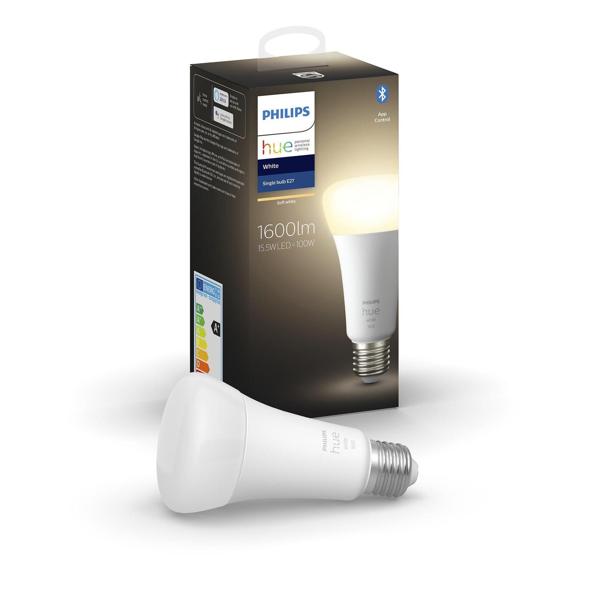 Lampadina smart lighting LED, HUE WHITE BLUETOOTH, E27, Goccia, Opaco, Luce calda, 15.5W=1600LM (equiv 100 W), 150° , PHILIPS HUE - 11