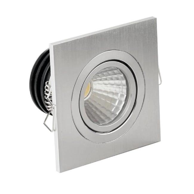 Faretto fisso da incasso orientabile quadrato Sylvie in Alluminio argento, 7x7cm LED integrato 3W 260LM IP20 - 1