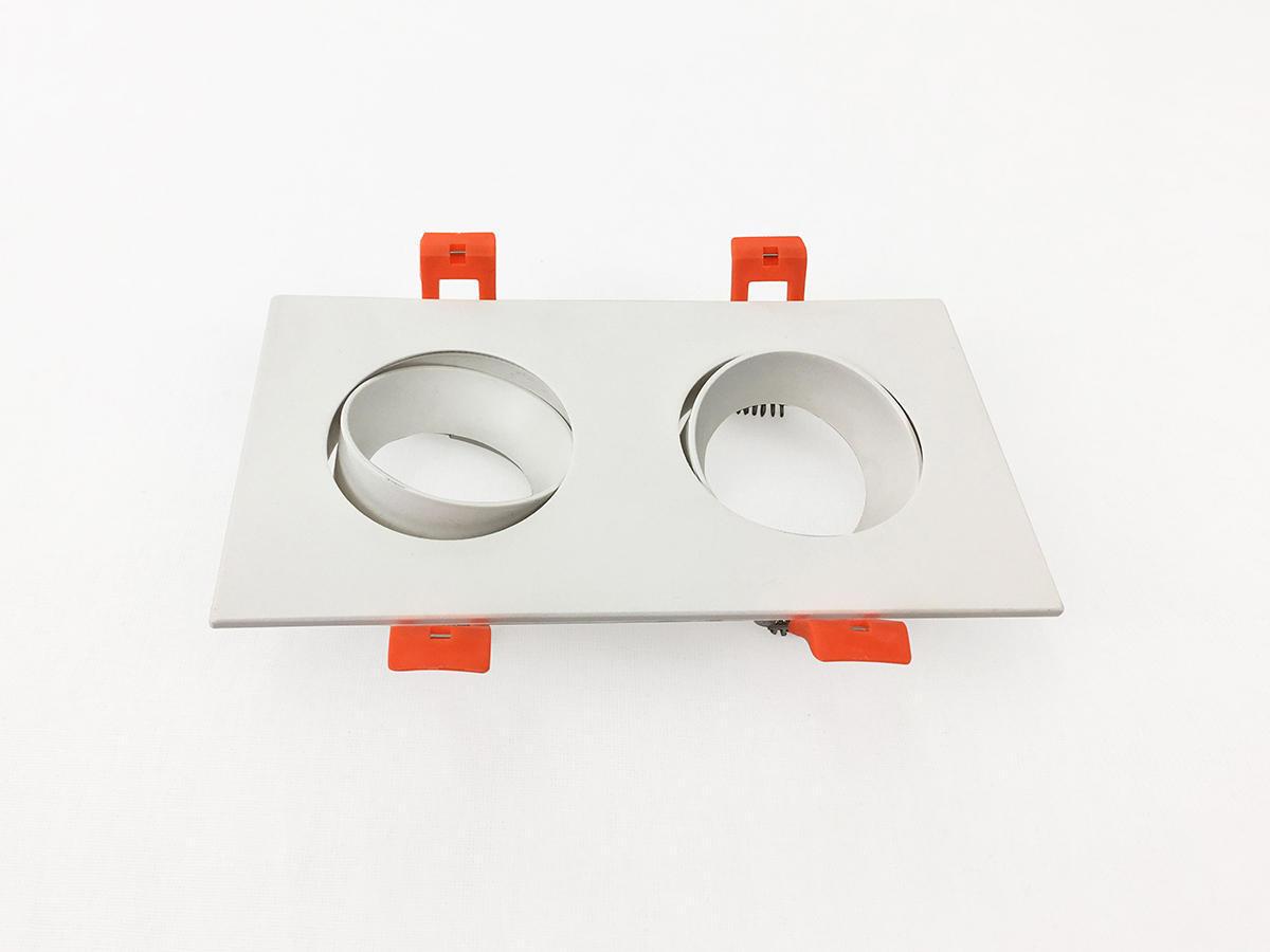 Set da 2 pezziGhiera per faretto da incasso orientabile rettangolo ghiera per faretto ad incasso bianco, 17xGU10 2xMAXLampadina non inclusaW IP20