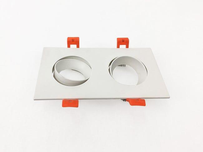 Set da 2 pezziGhiera per faretto da incasso orientabile rettangolo ghiera per faretto ad incasso bianco, 17xGU10 2xMAXLampadina non inclusaW IP20 - 1