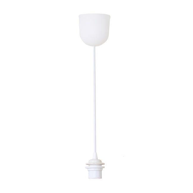Pendel con cavo in plastica 70 cm, bianco, con portalampada E27 - 1