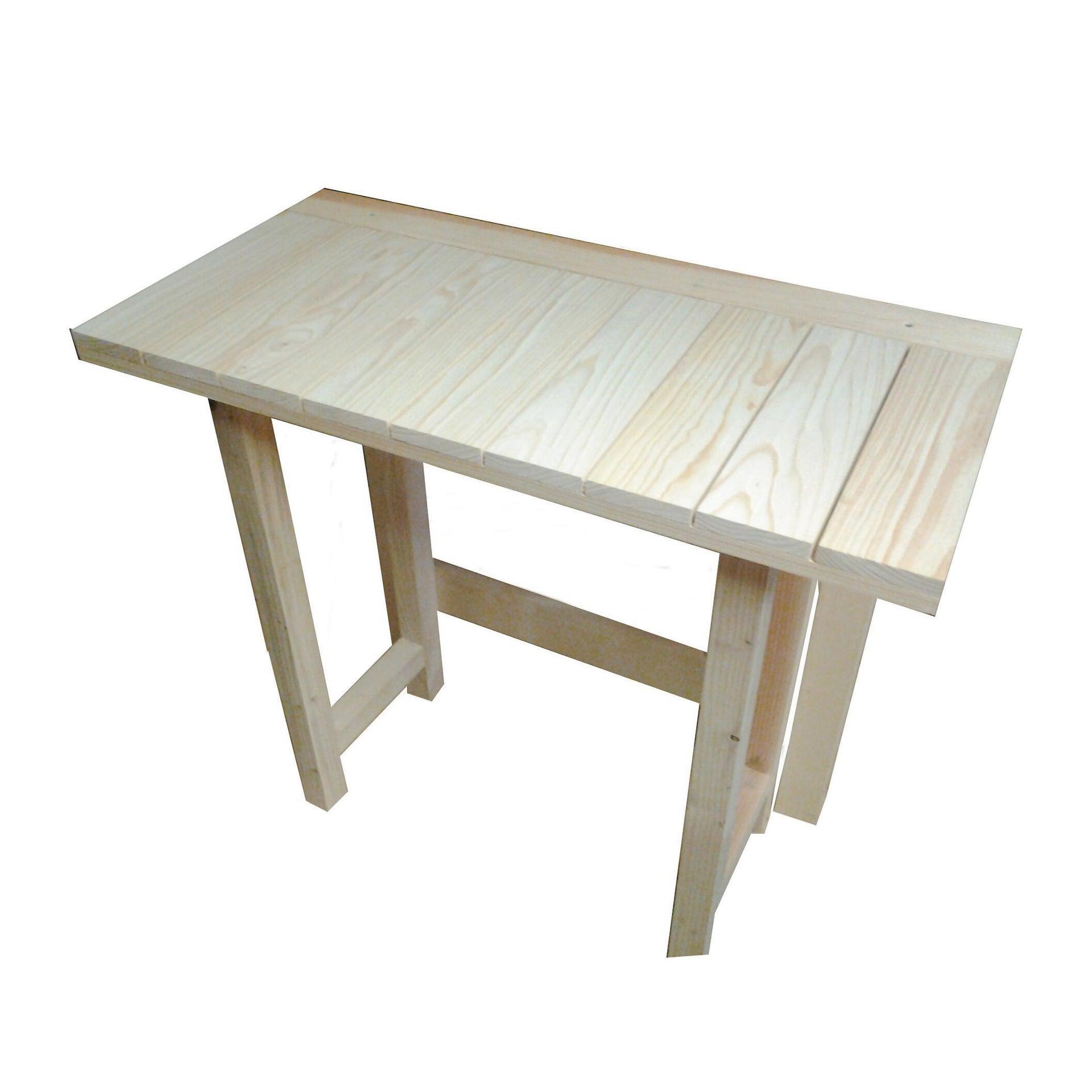 Tavolo da giardino rettangolare Abete con piano in legno L 50 x P 100 cm - 3