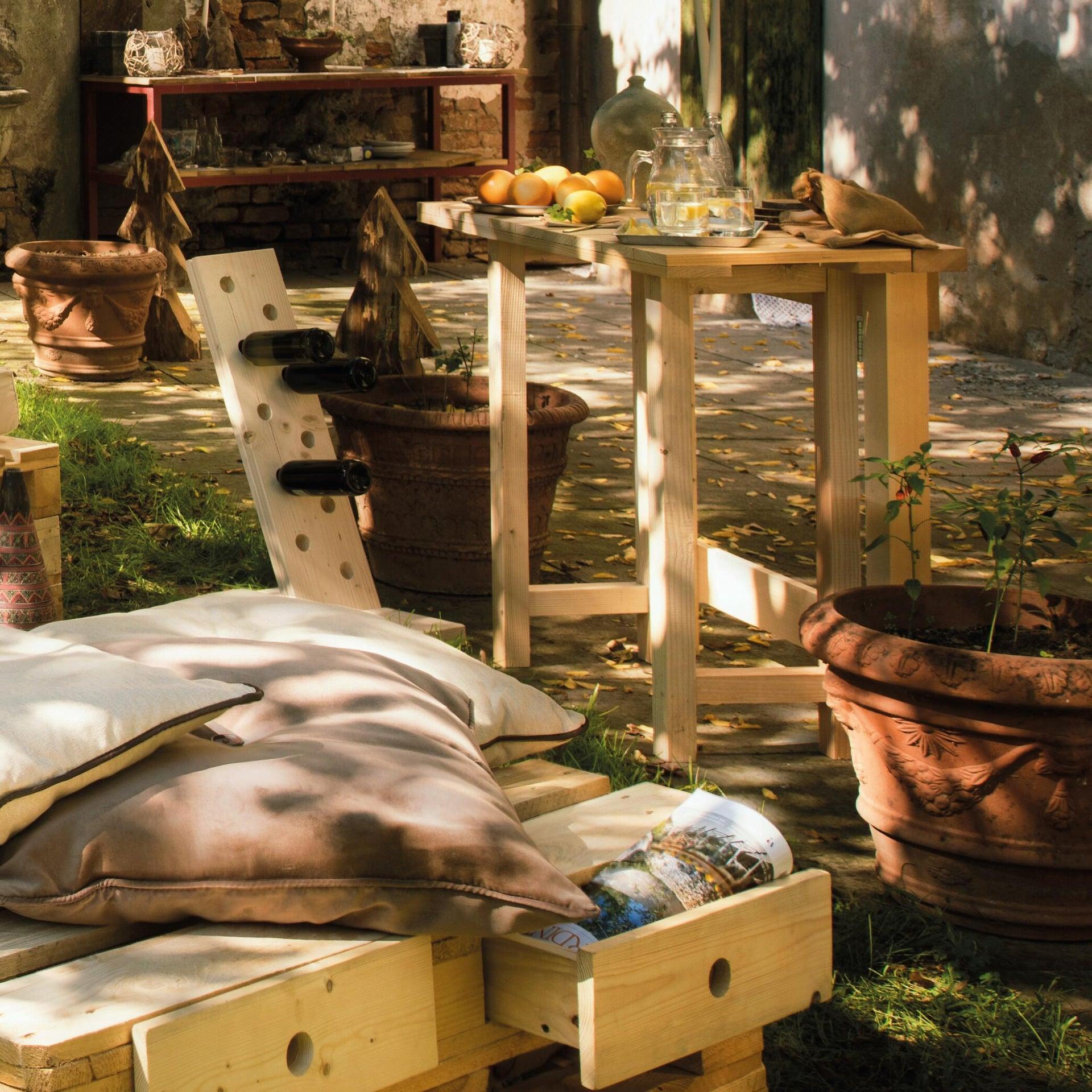 Tavolo da giardino rettangolare Abete con piano in legno L 50 x P 100 cm - 2