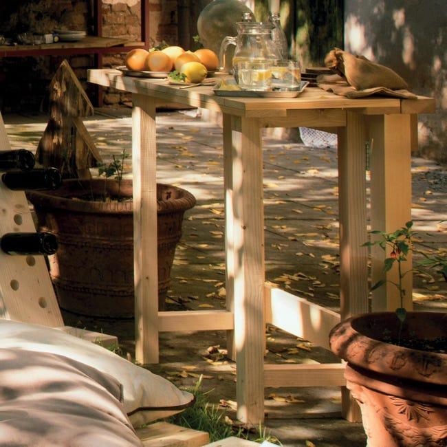Tavolo da giardino rettangolare Abete con piano in legno L 50 x P 100 cm - 1