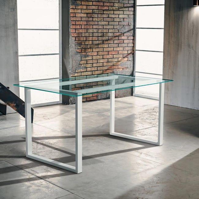 Tavolo da giardino rettangolare Crystal con piano in vetro L 80 x P 160 cm - 1