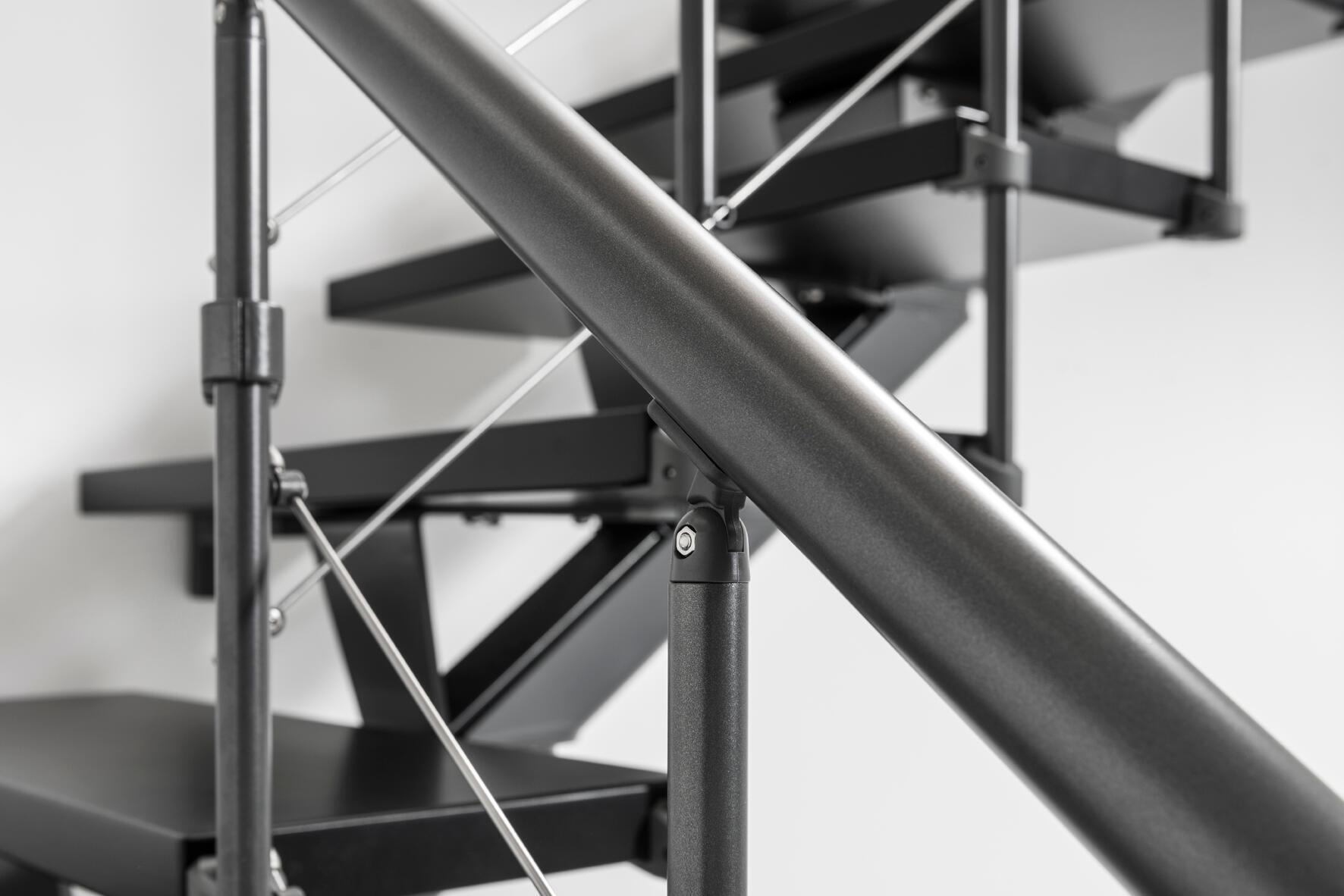 Scala a rampa 1/4 di giro Mas FONTANOT L 85 cm, gradino grigio antracite scuro, struttura antracite - 23