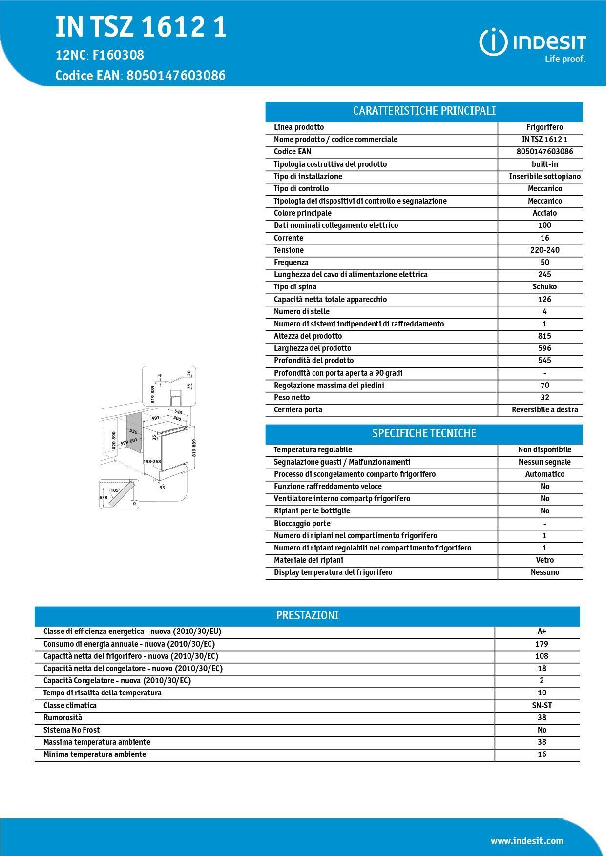 Frigorifero a incasso frigorifero 1 porta INDESIT IN TSZ 1612 1 destra - 4