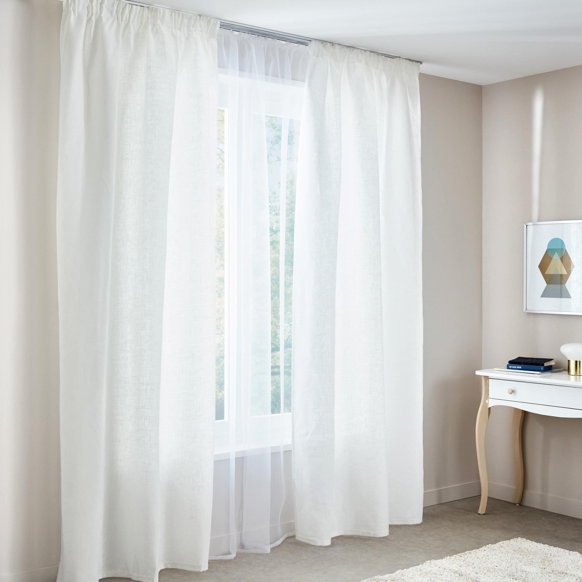 Tenda INSPIRE Lino bianco fettuccia con passanti nascosti 140 x 280 cm - 2