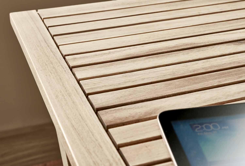 Tavolo da giardino rettangolare Solis NATERIAL con piano in legno L 70 x P 114 cm - 10