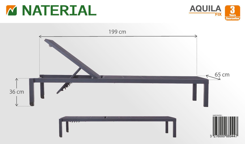 Lettino senza cuscino impilabile NATERIAL Aquila in alluminio grigio scuro - 6
