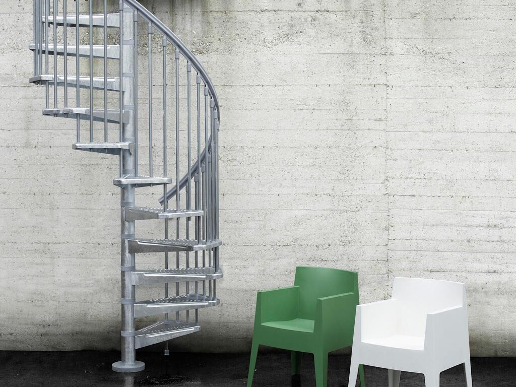 Scala a chiocciola tonda Steel Zink FONTANOT L 120 cm, gradino grigio zincato, struttura grigio zincato - 10