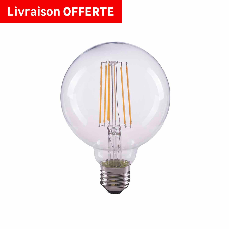 Lampadina LED filamento, E27, Globo, Trasparente, Luce naturale, 8W=1055LM (equiv 75 W), 360° , LEXMAN - 2
