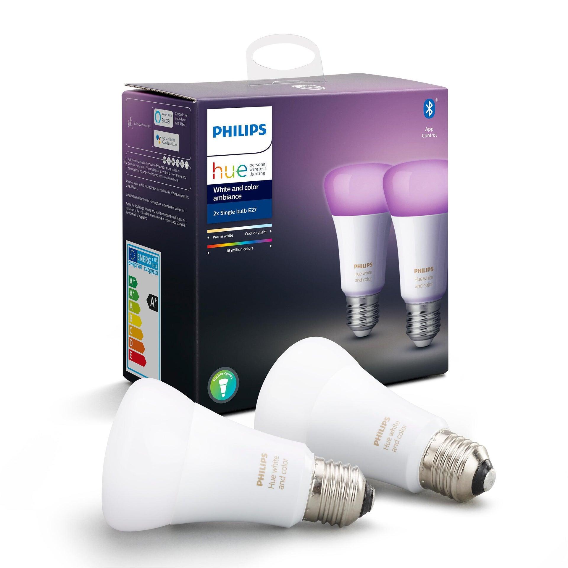 Set di 2 lampadine LED, HUE COLOR BLUETOOTH, E27, Goccia, Opaco, RGB, 9W=806LM (equiv 60 W), 150° , PHILIPS HUE - 3