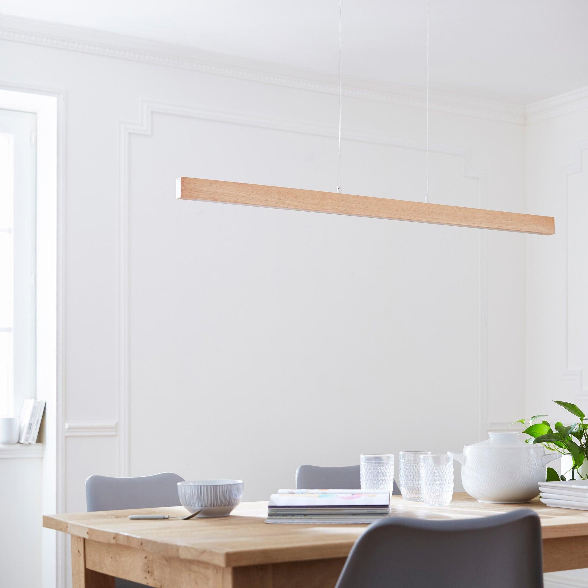 Lampadario Scandinavo Namu LED integrato legno, in legno, L. 118 cm, INSPIRE - 10