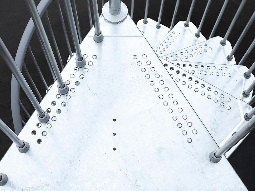Scala a chiocciola tonda Steel Zink FONTANOT L 120 cm, gradino grigio zincato, struttura grigio zincato - 2