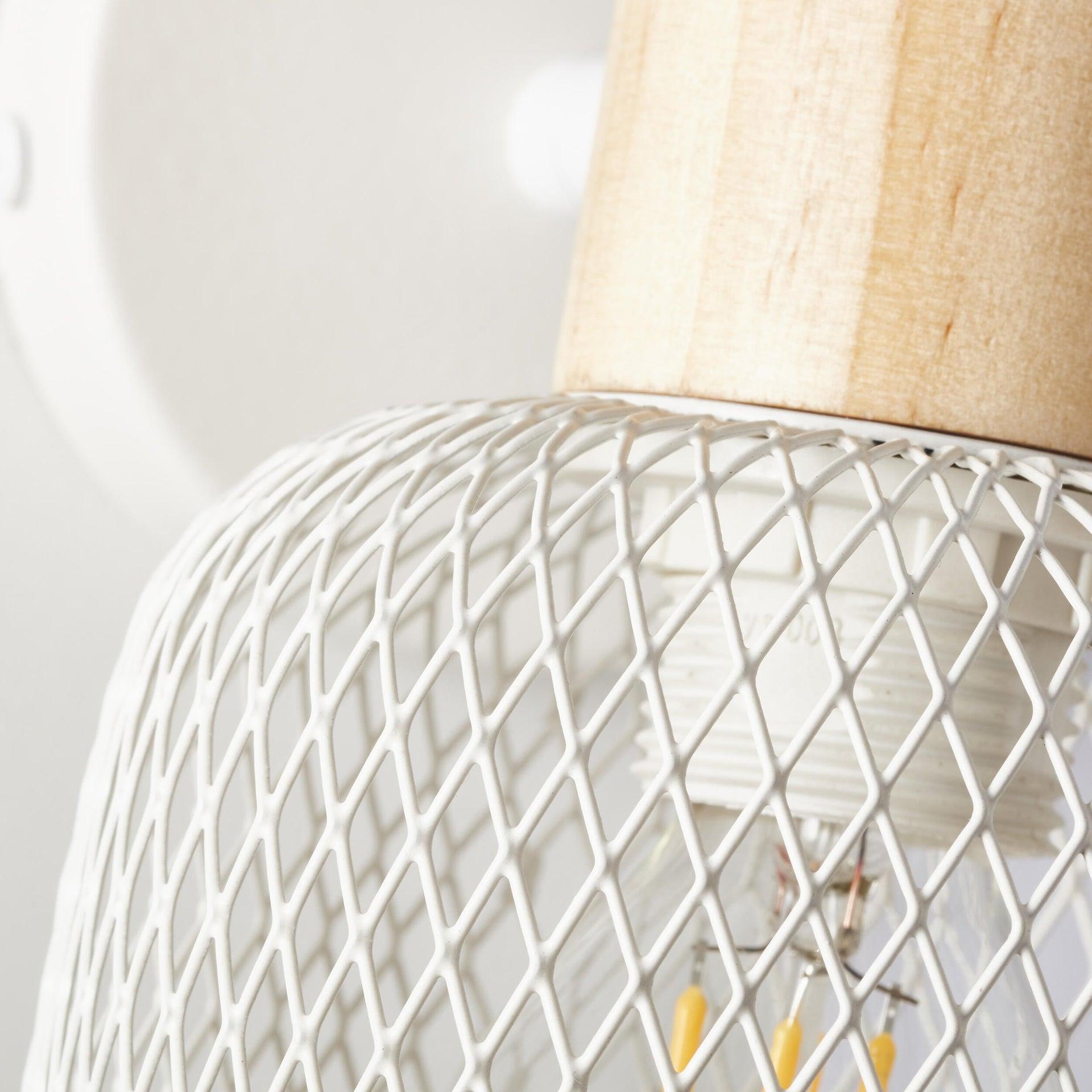 Faretto a muro Giada bianco e legno chiaro, in metallo, E14 25W IP20 BRILLIANT - 5