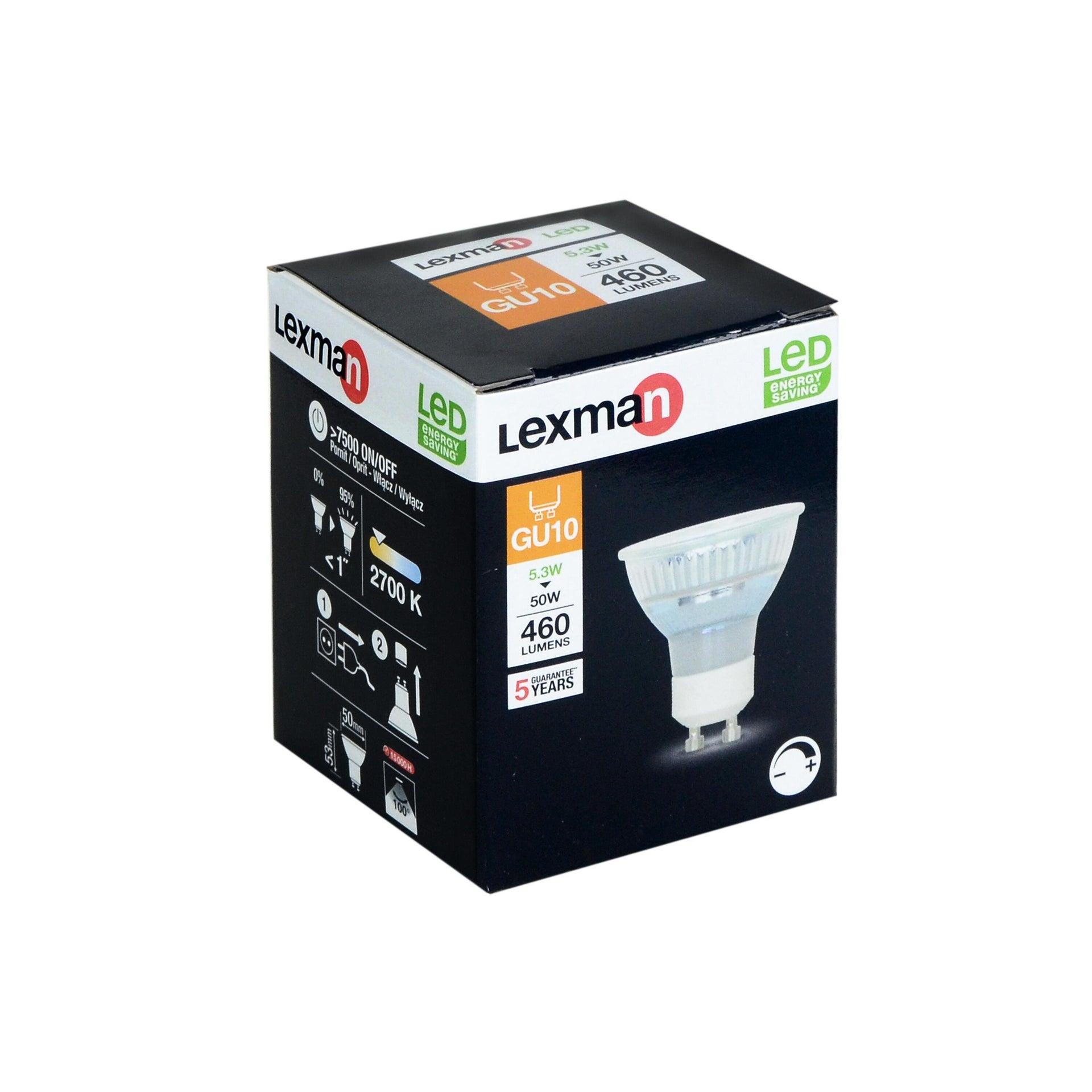 Lampadina LED, GU10, Faretto, Trasparente, Luce calda, 5.3W=460LM (equiv 50 W), 100° , LEXMAN - 4